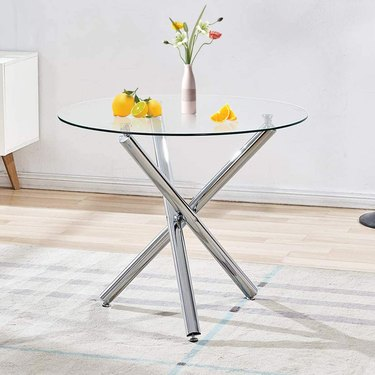 Bacyion Dining Table with Clear Tempered Glass Top