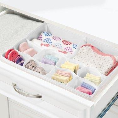 mDesign Baby + Kids Fabric Dresser Drawer Storage Organizer