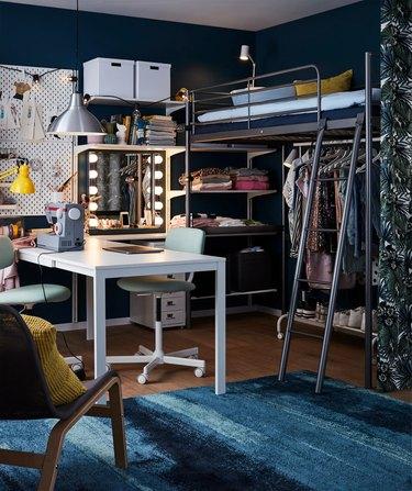 IKEA teenage bedroom idea loft bed ladder