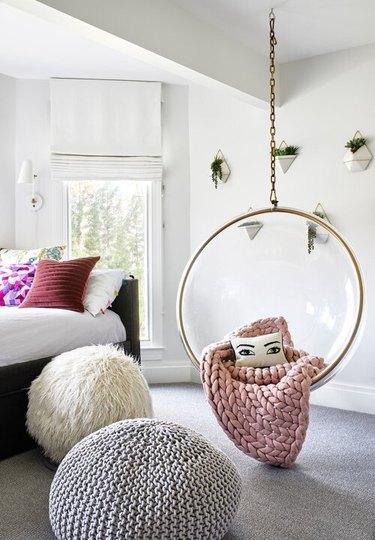 IKEA teenage bedroom idea hanging pod chair