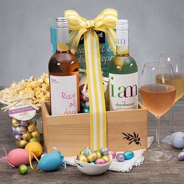 easter candy and wine in gift box