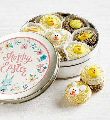 Easter chocolate covered oreos in tin container