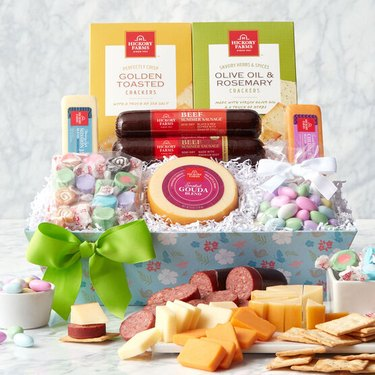 sweet and savory treats in Easter gift basket