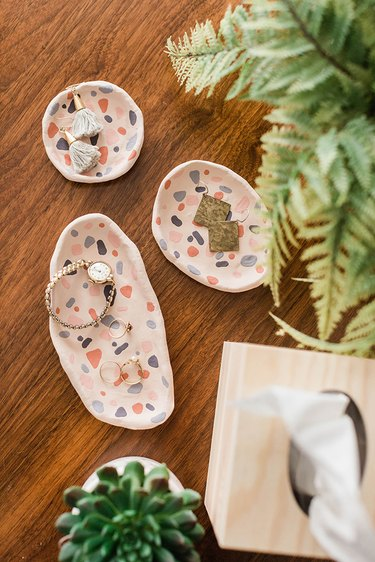 Style your finished DIY Clay Terrazzo-Inspired Ring Dishes.