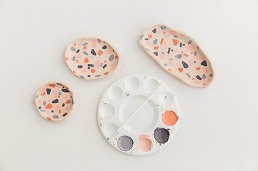 Paint the terrazzo effect on all of your DIY clay dishes.
