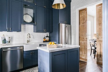 modern kitchen with navy cabinetry