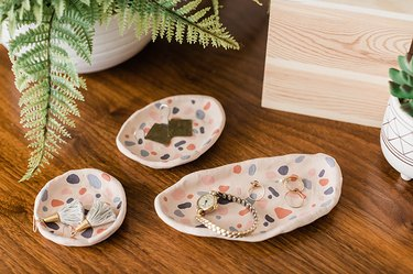 Learn how to make your own DIY air-dry clay terrazzo-inspired ring dishes.