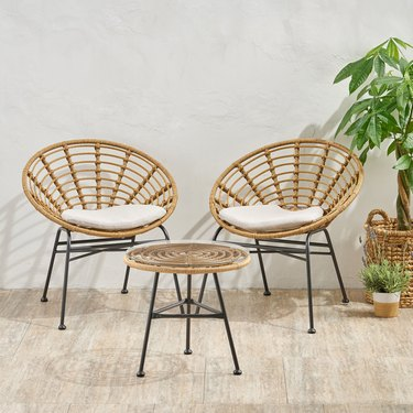 Christopher Knight Home Wicker Chair Set with Side Table