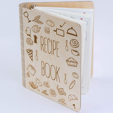 wood recipe book binder