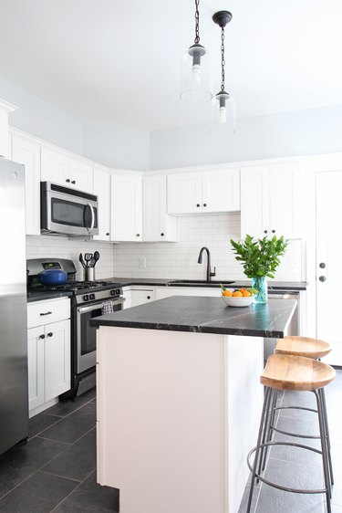 Soapstone kitchen countertops in modern white kitchen