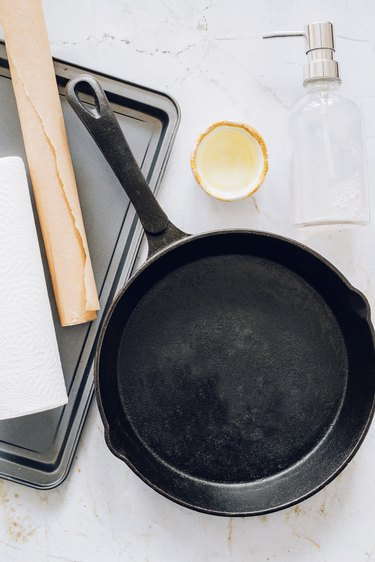 Things you'll need to season a cast iron skillet