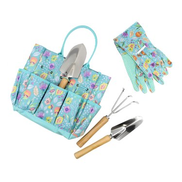 gardening tool bag with gloves in floral pattern