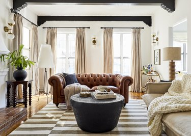living room with brown and neutral color palette