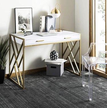 Modern Gold and white 1-Drawer Desk