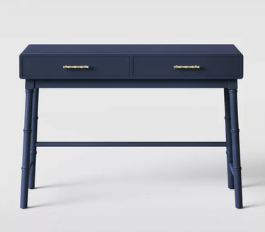 Blue Wood Writing Desk with Drawers