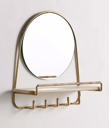 Mirror Multi-Hook Wall Shelf