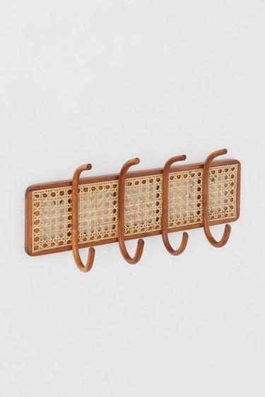 Wood and Wicker Coat Hanger Rack