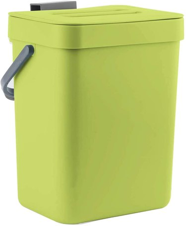lime green compost bin with hanging hook