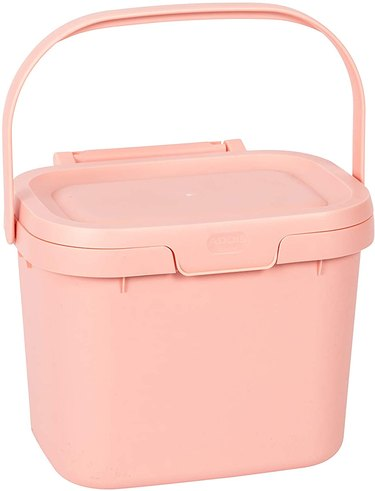 pink compost bin with carrying handle