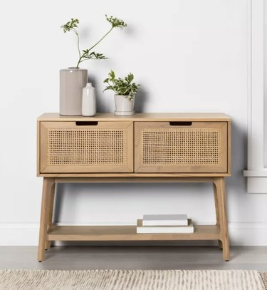 Wood & Cane Console Table with Pull-Down Drawers