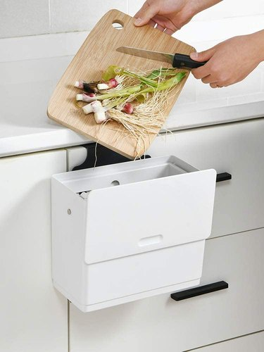 hanging compost bin with sliding cover