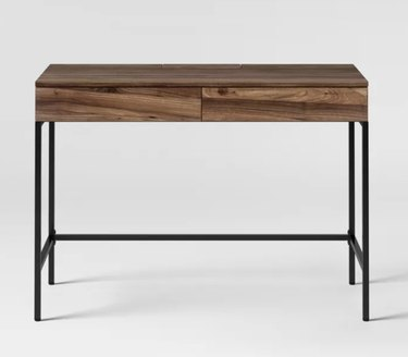 Wood Writing Desk with Drawers