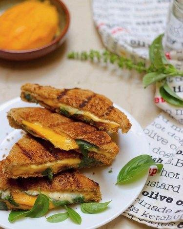 Saffron Trail Mango Basil Grilled Cheese Sandwich