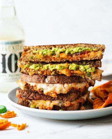 Healthy Nibbles Kimchi and Avocado Grilled Cheese