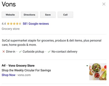 vons google maps search results