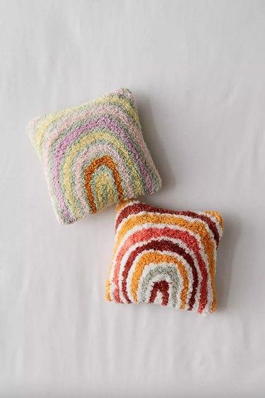 Rainbow Tufted Mini Throw Pillow