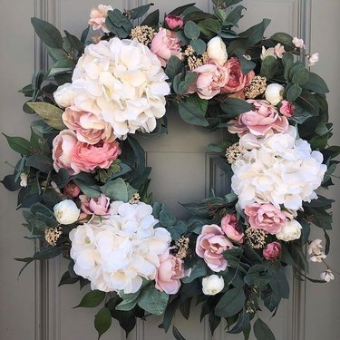 spring wreath with roses and peonies