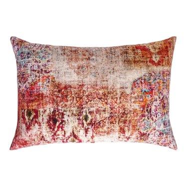 Magenta Distressed Persian Rug Print Lumbar Pillow