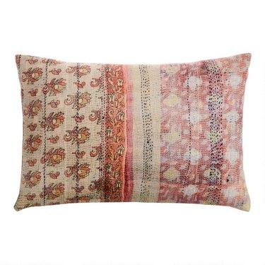 Oversized Ivory And Blush Kantha Print Lumbar Pillow