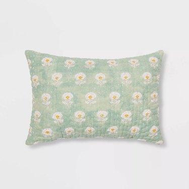 Kantha Floral Stitch Decorative Throw Pillow