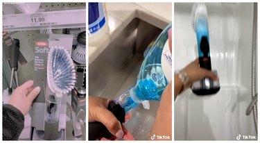 soap-dispensing dish brush shower hack on TikTok
