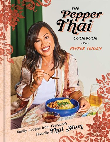"Pepper Thai photograph on book cover with bowl and titled that reads ""The Pepper Thai Cookbook"""