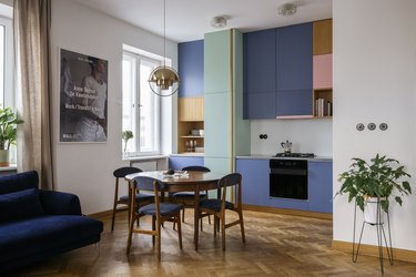 colorful cabinets in contemporary kitchen