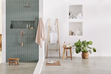 calming bathroom scene with pastel colors