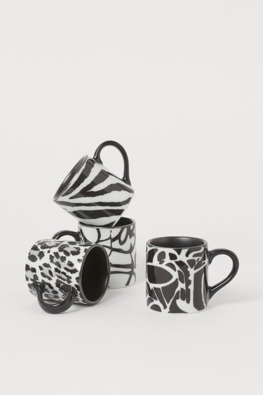 black and white patterned mugs