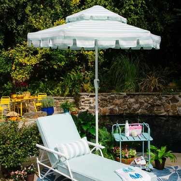 aqua umbrella, lounger, bar cart