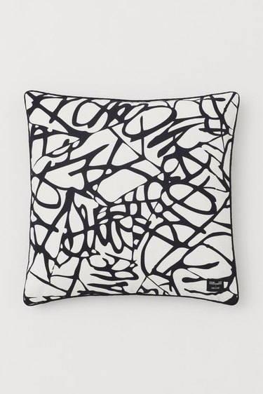 black and white scribble cushion