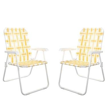 yellow folding chairs