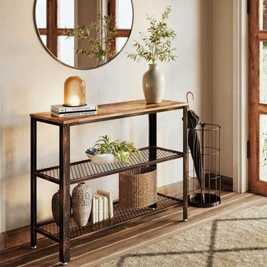 Small Entryway Table rustic mesh shelves