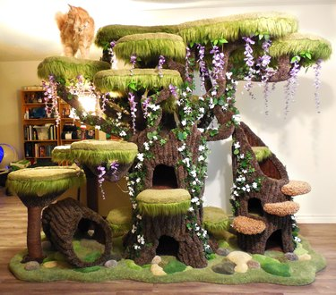 cat tree climbing furniture piece in shape of trees