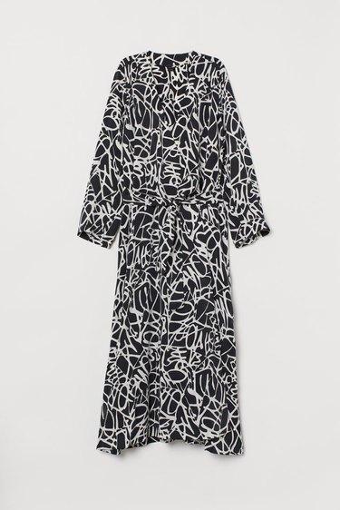 black and white bathrobe