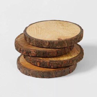 four wood coasters