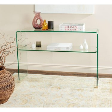 Small Entryway Table glass with shelves