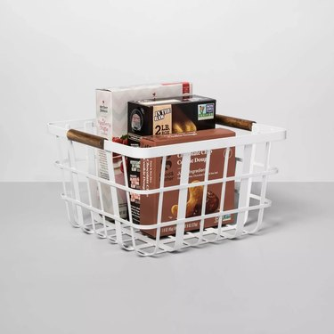 pantry basket with snacks