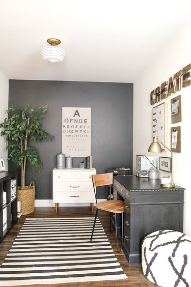 gray and white farmhouse office with glass flush mount light