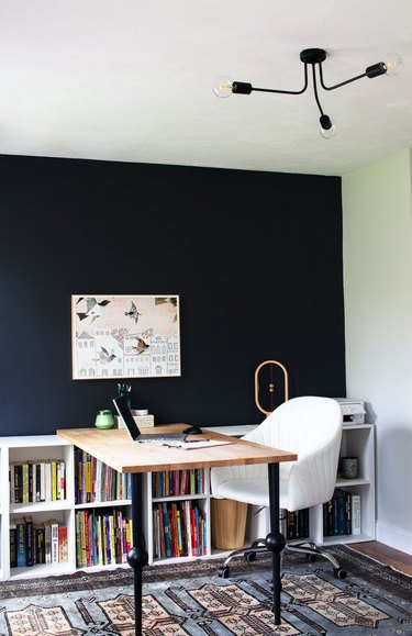 black modern flush mount in contemporary home office